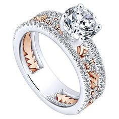 18K Rose and White Gold Stacked Vintage Style Diamond Engagement Ring from…