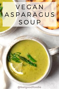 This Vegan Asparagus Soup Is Rich And Creamy Without Any Cream. It'smade With Vegetables and Roasted Asparagus - A Quick, Easy And Healthy Recipe For Spring Asparagus Soup Cream Of Asparagus Spring Recipes Spring Soups Vegan Soups Vegan Chowder Recipes, Vegan Soups, Healthy Soup Recipes, Delicious Vegan Recipes, Gourmet Recipes, Vegetarian Recipes, Lunch Recipes, Chili Recipes, Recipes Dinner