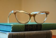 Vintage Aluminum Bausch and Lomb Cat Eye Eyeglasses