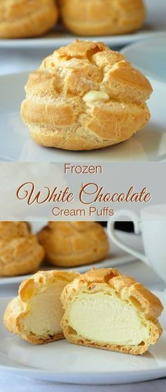 These white chocolate cream puffs are ideal to have on hand for last minute dessert when needed. The filling freezes to a silky white chocolate ice cream.