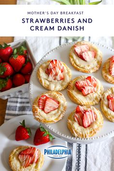 Mother's Day brunch, anyone? This Super-Easy Strawberries and Cream Danish is simple to make, easy to customize with your favorite berries, and perfect for brunch or dessert! Made with creamy, delicious cream cheese! Cream Cheese Puff Pastry, Frozen Puff Pastry, Breakfast Recipes, Dessert Recipes, Desserts, Homemade Breakfast, Breakfast Muffins, Homemade Cheese Danish Recipe, Sweet Pastries