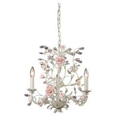 shabby glamorous chic mini chandelier- pretty in pink- curate for a cause sale / habitat for humanity -yay!