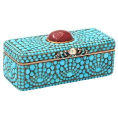 Gold Snuff Box, set with Turquoise, Garnet & Diamond. Russia C1810