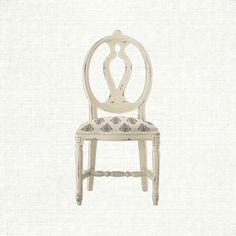 Office: Cecilia Dining Side Chair With Upholstered Seat In Gustavian Cream