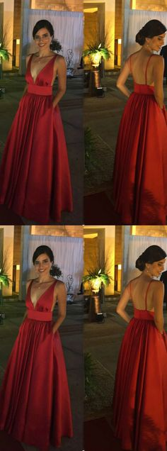 Gorgeous A Line V Neck Open Back Red Satin Long Prom Dresses with Pockets, Evening Party Dresses Bridesmaid Dresses 2018, Homecoming Dresses, Party Dresses, Red Satin Dress, Satin Dresses, Dresses Dresses, Designer Evening Dresses, Lace Evening Dresses, Prom Dresses With Pockets