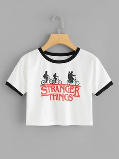 Stranger Things Print Crop Tee Shirt Description Occasion: Weekend Casual Letter Color: White/Black Neckline: Round Neck Fabric: Fabric has some stretch Fit Type: Crop Length: Tee Season: Summer Stranger Things Merchandise, Stranger Things Quote, Stranger Things Netflix, Stranger Things Clothing, Stranger Things Hoodie, Teen Fashion Outfits, Trendy Outfits, Cool Outfits, Teen Fashion Winter