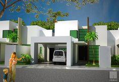 Fachadas Minimalistas: Diseño de fachada minimalista con cochera techada