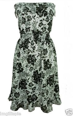 Ladies Black Floral Strapless Summer Rayon Dress Size SMALL