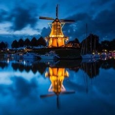 Reflection - The Watchtower, Windmill the Hope, Dokkum, The Netherlands
