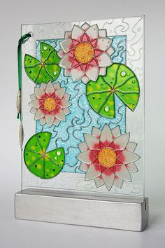 Hand painted glass card — Water lilies