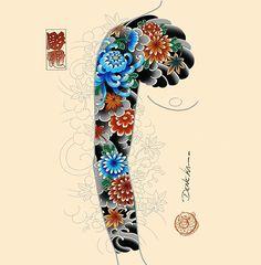 Concept idea available!! - For bookings denekahoriden@gmail.com!! - #chrysanthemum #flowers #sleevetattoo #orientaltattoo #japanesetattoo… Men Flower Tattoo, Japanese Flower Tattoo, Japanese Tattoo Designs, Japanese Sleeve Tattoos, Flower Tattoo Designs, Full Hand Tattoo, Full Sleeve Tattoo Design, Full Sleeve Tattoos, Arm Tattoo