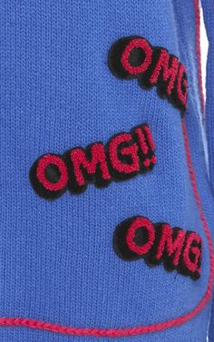 """Omg"" Patched Sweater by Mira Mikati for Preorder on Moda Operandi"