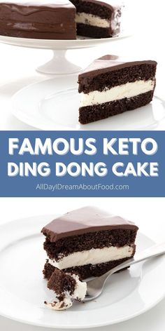 Everyone's favorite keto chocolate cake! Tender layers of low carb chocolate cake with a creamy filling and a rich sugar free chocolate ganache. Free Keto Recipes, Healthy Low Carb Recipes, Healthy Treats, Low Carb Keto, Keto Sweet Snacks, Keto Snacks, Yummy Snacks, Yummy Food, Low Carb Chocolate Cake