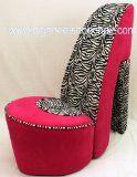 Zebra and Hot Pink High Heel Shoe Chair