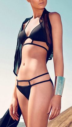 Black Triangle Top with Strappy Bottom Bikini #swimwear #bikini #nattygal
