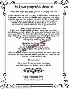 Psychic Prophetic Dreams Spell Wicca Book of Shadows Pagan Witchcraft Ritual Pagan Witchcraft, Magick Spells, Holy Water Recipe, Latin Spells, Dream Spell, Wish Spell, Healing Spells, Healing Power, Voodoo Spells