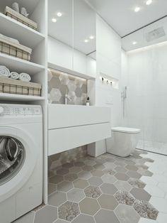 Fehér fürdőszoba - fürdő / WC ötletek, modern stílusban