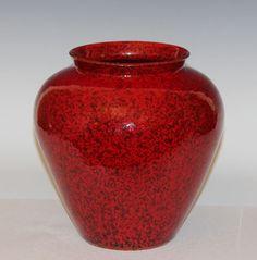 Large Vintage Atomic Mottled Red Italian Art Pottery Italica Ars Raymor Vase