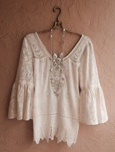 SPRING SALE 40 off Romantic ivory tunic with cutwork by BohoAngels, $200.00