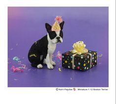 1:12 Boston Terrier sculpture of polymer clay & applied fiber coat.
