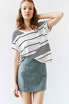 Cooperative Tweed Linen Mini Skirt - Urban Outfitters