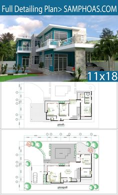 3 Bedrooms Villa design plan This villa is modeling by SAM-ARCHITECT With 2 stories level. It's has 3 bedrooms. 3 Bedroom House description: The New House Plans, Modern House Plans, House Floor Plans, The Plan, How To Plan, Villa Plan, Free House Design, Modern House Design, Custom Home Plans