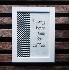Excited to share the latest addition to my #etsy shop: I Only Have Time For Coffee: Twin Peaks frame http://etsy.me/2CYPDEh #art #fibreart #black #white #twinpeaks #embroidery #cooper #coffee #zigzag