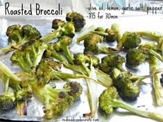 This is the best broccoli I ever had. It was hard to stop eating. ***Olive oil, lemon juice, garlic salt, pepper, bake @ 375 for 30 min.
