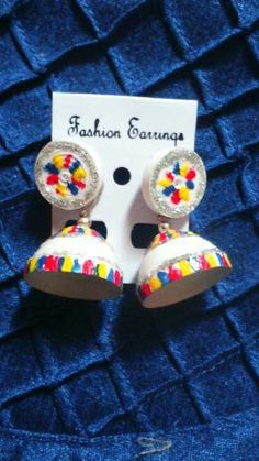 quilled white jhumka with 3d colors