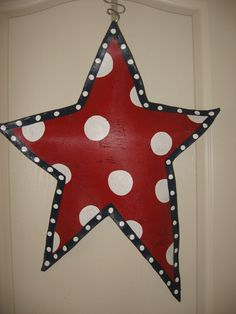 Red/White Polka Dot Star Door Decoration by abossard on Etsy, $30.00
