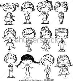 stock vector : cartoon drawings of children