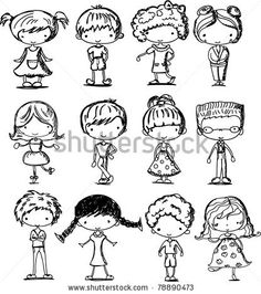 stock vector cartoon drawings of children - Cartoon Kid Drawing