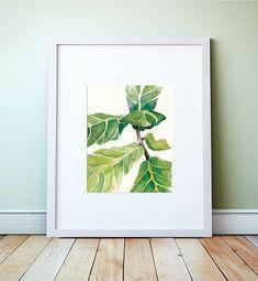 FIDDLE fig leaf Acuarela: Art Print, de pintura de higuera de hoja violín, Resumen Grabado Botánico
