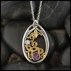 52 best unique celtic pendants in gold and silver images on purple sapphire and diamond pendant in gold aloadofball Gallery