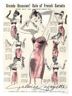 Galeries Lafayette French Corsets Advertisement, 1930s