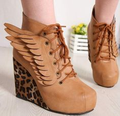 Leopard Angel Wings Sexy Wedge Heels Platform Round Toe Womens Boots Shoes 2.5-6