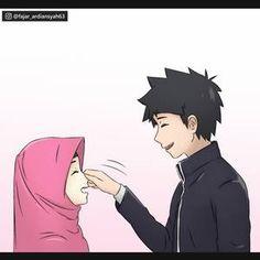 Cartoon Girl Images, Couple Cartoon, Girl Cartoon, Cute Couple Selfies, Cute Love Couple, Cute Muslim Couples, Cute Anime Couples, Muslim Images, Islamic Cartoon