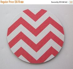 SALE - mousepad / Mouse Pad / Mat round or rectangle -  Chevron Coral - Zig Zag zigzag home office decor coworker gift