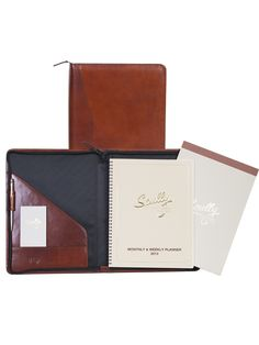 Scully Accessories Mahogany Italian Leather Wirebound Writing Pad