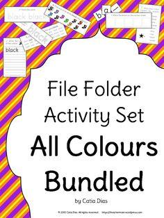 File Folder Colors Activity Set - both US and UK English