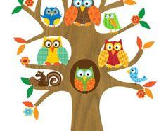 Niños pared arte-búhos y pájaros en una árbol-ilustración