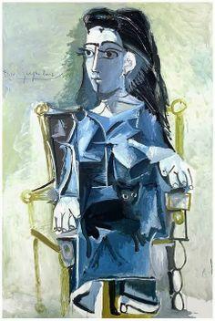 Jacqueline Assise Dans Un Fauteuil, Pablo Picasso - 1964/study his work.