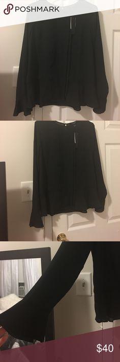 Banana Republic Black blouse! NWT black banana republic blouse. Flare sleeves and bottom, beautiful material, size small. Never worn. Banana Republic Tops Blouses