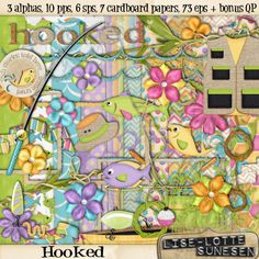 Digital Scrapbooking with NutHouse-Scraps.com Hooked [DSW13-098] - In this fishing themed kit you find: 3 alphas (a-z, 0-9, ? and ! - in three versions: cork, burlap and glitter), 10 pattern papers, 6 solid papers, 7 cardboard papers (all has a colored ink edge) and 73 embellishments: 1 boat, 1 bopper, 1 cattails, 2 clusters, 3 fish,