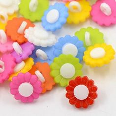 lot 20 boutons fleur paquerette 15mm multicolore couture mercerie scrap neuf