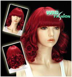 Anime Cosplay Wig Curly Dark Red Hair Wigs FV47   eBay