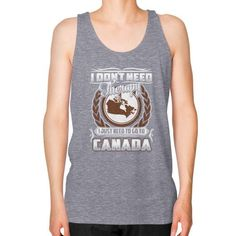 I JUST NEED TO GO TO CANADA Unisex Fine Jersey Tank (on man)
