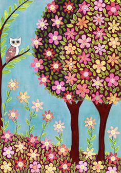 Whimsical Woodland Owl Art Print Nursery Art. $18.00, via Etsy.