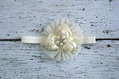 Fancy Ivory Flower Girl Headband - Ivory Satin Rosette Tulle Flower Headband with Pearl rhinestone center, baby girl baptism christening on Etsy, $12.50