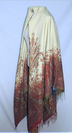 "Victorian CA 1860s Square Woven Wool Paisley Ivory Shawl | eBay seller shastasvintage; 66"" x 68"""